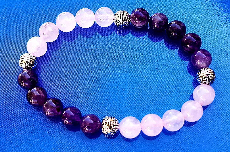 Bracelet en perles naturelles Am/éthyste et quartz rose de 8mm
