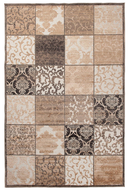Tapiso Bohemian Teppich Klassisch Vintage Floral Ornament Mosaik Muster Creme Braun Designer Wohnzimmer ÖKOTEX 240 x 330 cm