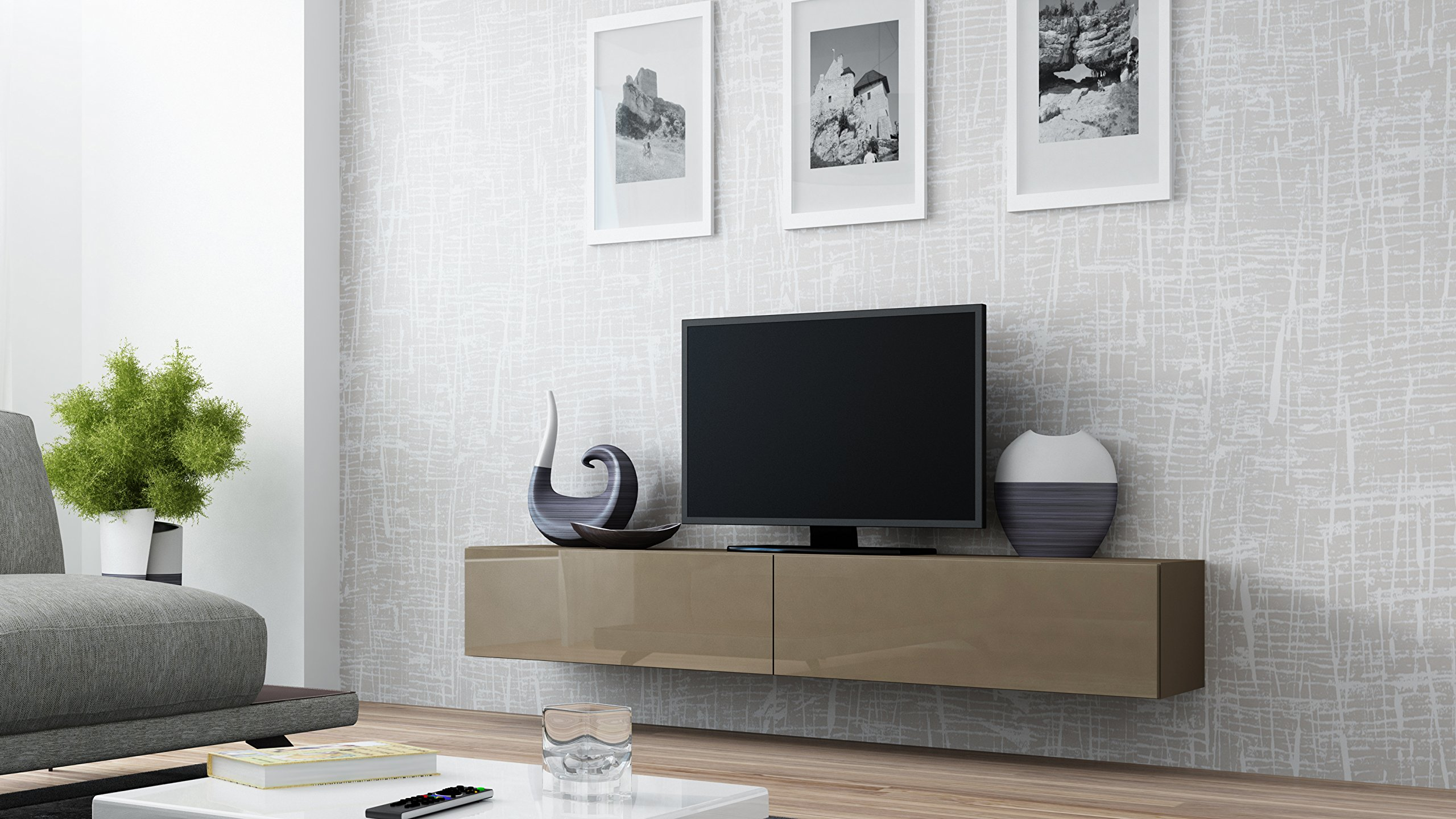 Seattle Floating TV Cabinet – TV Stand with High Gloss fronts - Seattle Hanging TV console (Large, Latte)