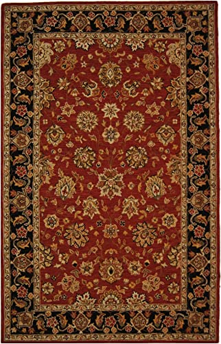 Safavieh Chelsea Collection HK505C Hand-Hooked Rose and Black Premium Wool Area Rug 7'9″ x 9'9″