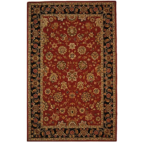 Safavieh Chelsea Collection HK505C Hand-Hooked Rose and Black Premium Wool Area Rug 6 x 9