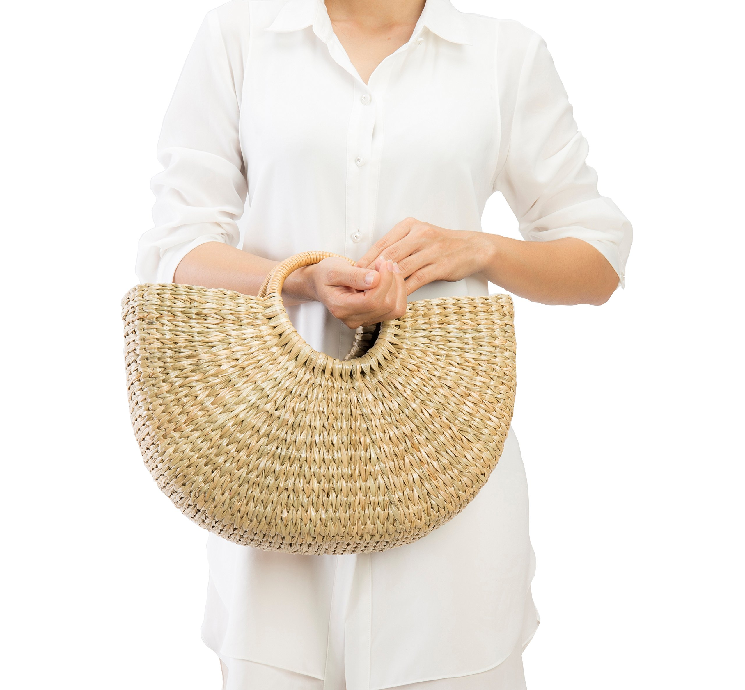 Natural Chic Hand Woven Round Handle Handbags Straw Handmade Summer Bag for Women