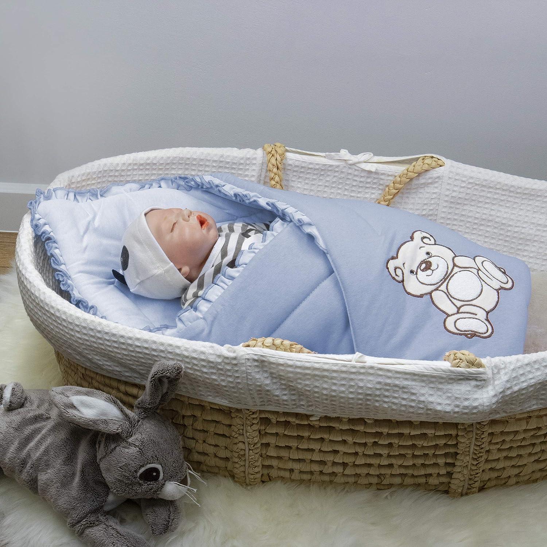 0-3m 100/% Coton 0-4m BlueberryShop Couverture Nid dange Sac de couchage Jersey Brod/é CADEAU pour Nouveau-n/é 78 x 78 cm Bleu