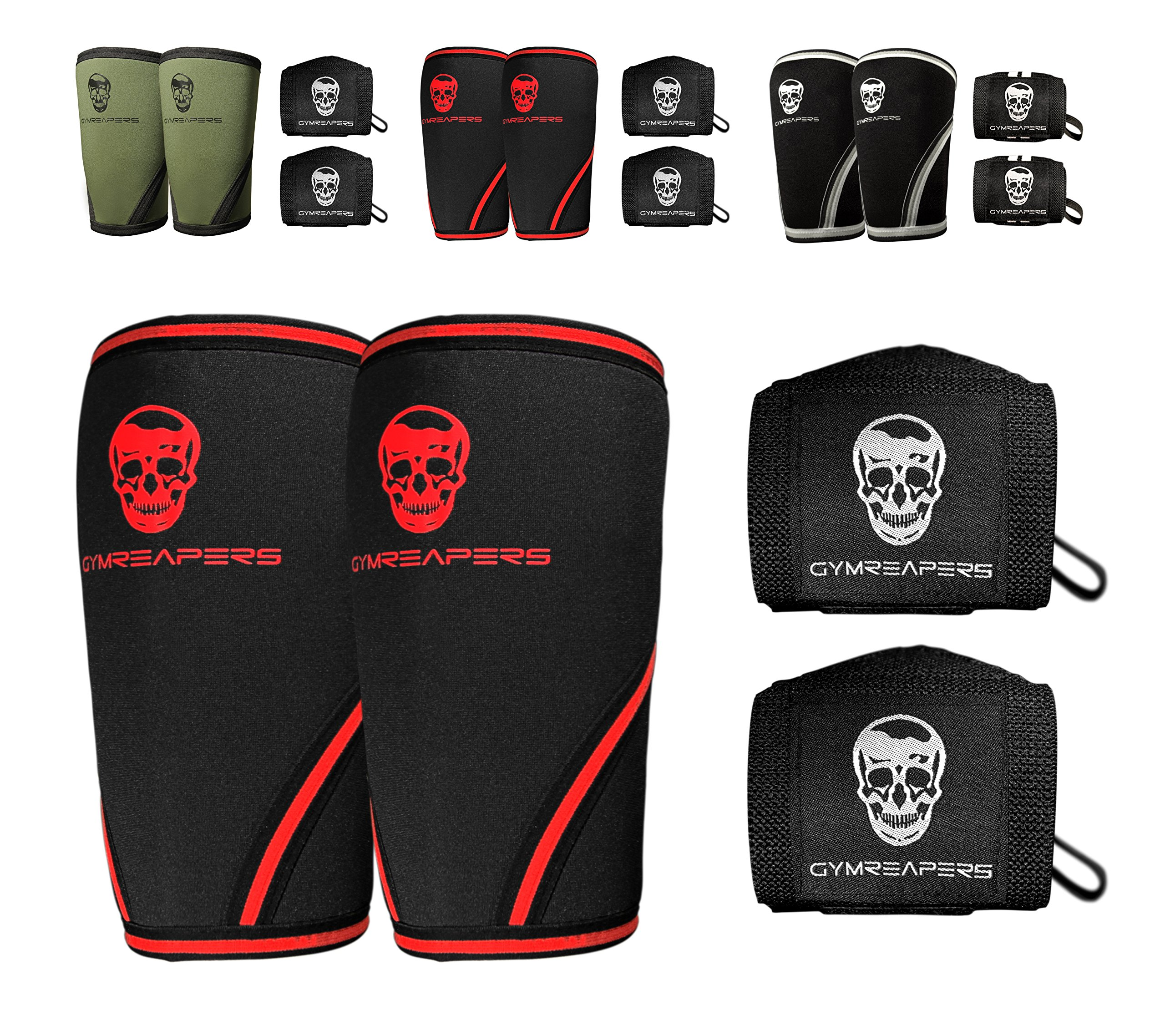 Gymreapers Elbow Sleeves (1 Pair) W/Bonus Wrist Wraps - Support & Compression for Powerlifting, Weightlifting, Bench & Tendonitis 5mm Neoprene Sleeve - for Men & Women (Black/Red, X-Large) by Gymreapers