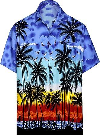 LA LEELA Casual Relaxed Fit Aloha Palm Floral Casual Buttotn Down Short Sleeve Hawaiian Shirt Men