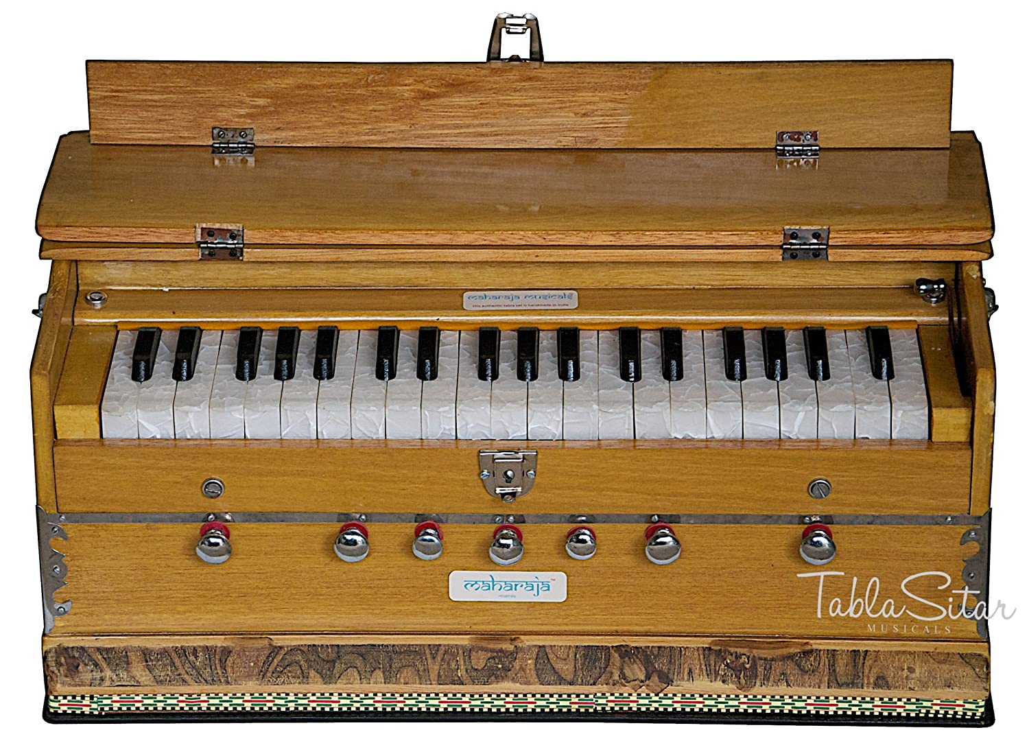 Harmonium, Maharaja Musicals, In USA, 3 1/4 Octave, Double Reed, Coupler, Natural Color, 7 Stops, Standard, Book, Padded Bag, Tuned to A440, Musical Instrument Indian (PDI-ABF)