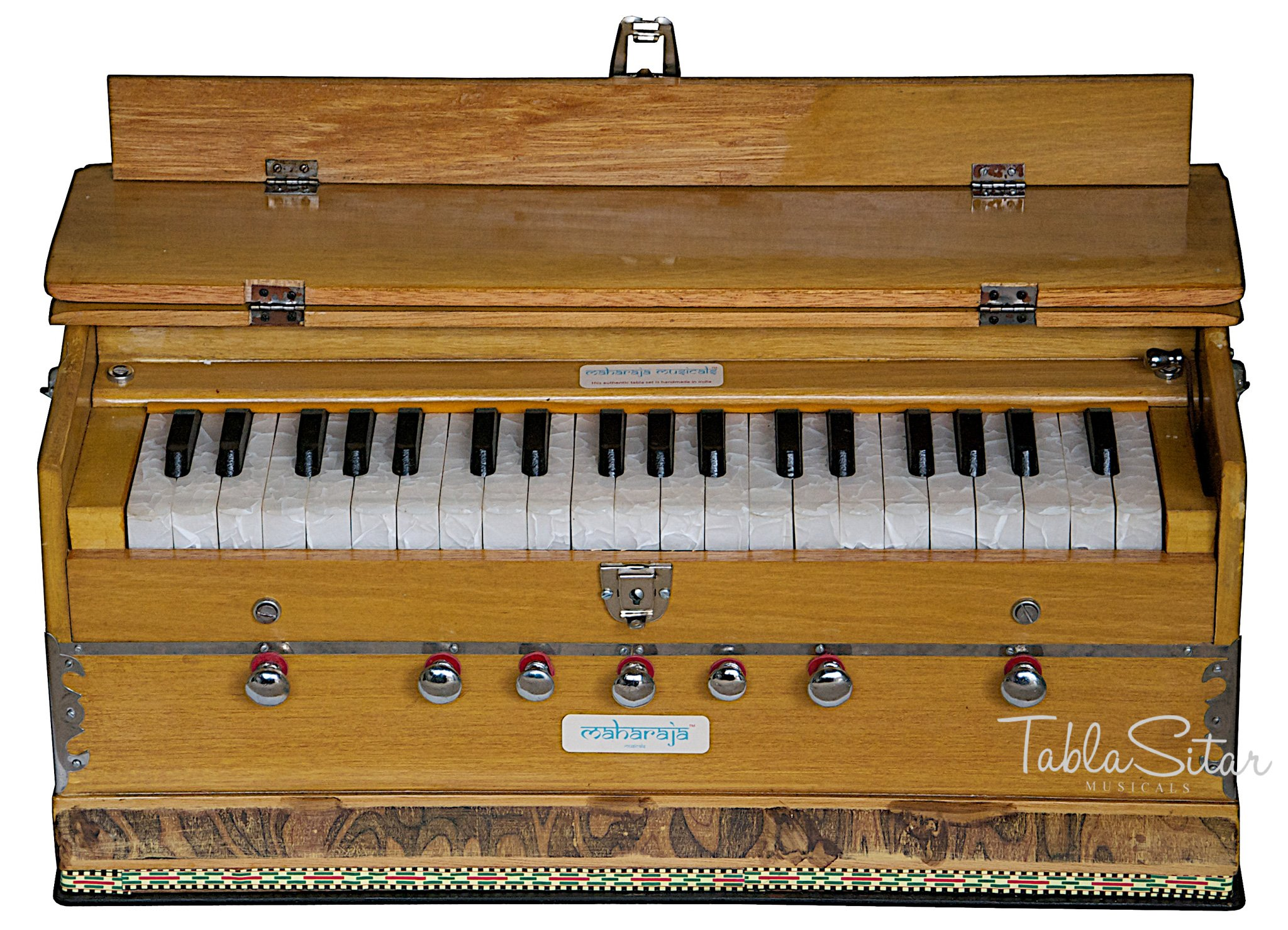 Harmonium, Maharaja Musicals, In USA, 3 1/4 Octave, Double Reed, Coupler, Natural Color, 7 Stops, Standard, Book, Padded Bag, Tuned to A440, Musical Instrument Indian (PDI-ABF) by Maharaja Musicals
