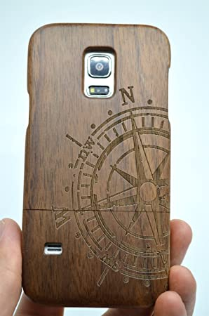 brand new 9f576 8e295 RoseFlower® Samsung Galaxy S5 Wooden Case - Walnut Compass - Natural  Handmade Bamboo/Wood Cover with Free Screen Protector for your Smartphone