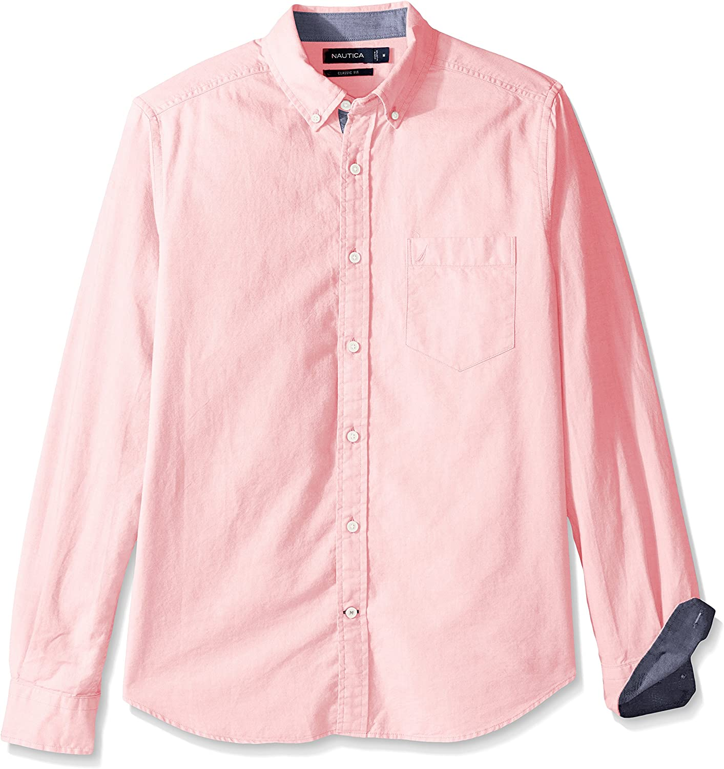 Nautica Men's Big and Tall Long Sleeve Button Down Solid Oxford Shirt