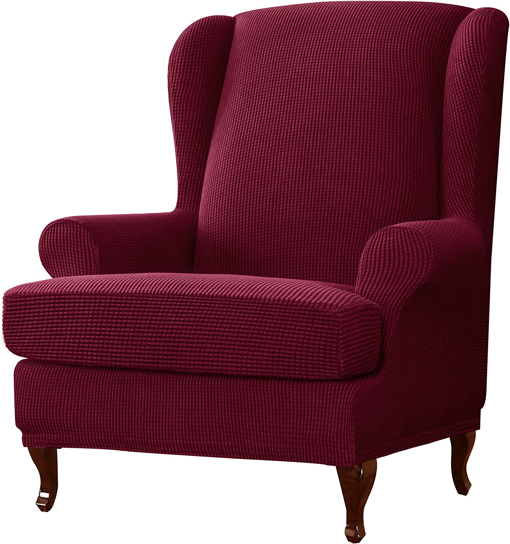 dark gray Armchair Slipcovers Stretch Armchairs Slipcovers SYLC Wing Chair Covers 2 Piece Stretch Polyester Spandex