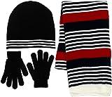 Boys 3 Piece Black-Red Hat, Scarf & Gloves Set