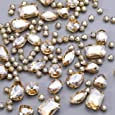 130 pcs (30 Regular +100 Small) Mixed Sew on Rhinestone Claw Crystal Rhinestones for DIY Craft, Jewelry Making,Clothing Accessory (Copper, Gold Claw - Champagne)