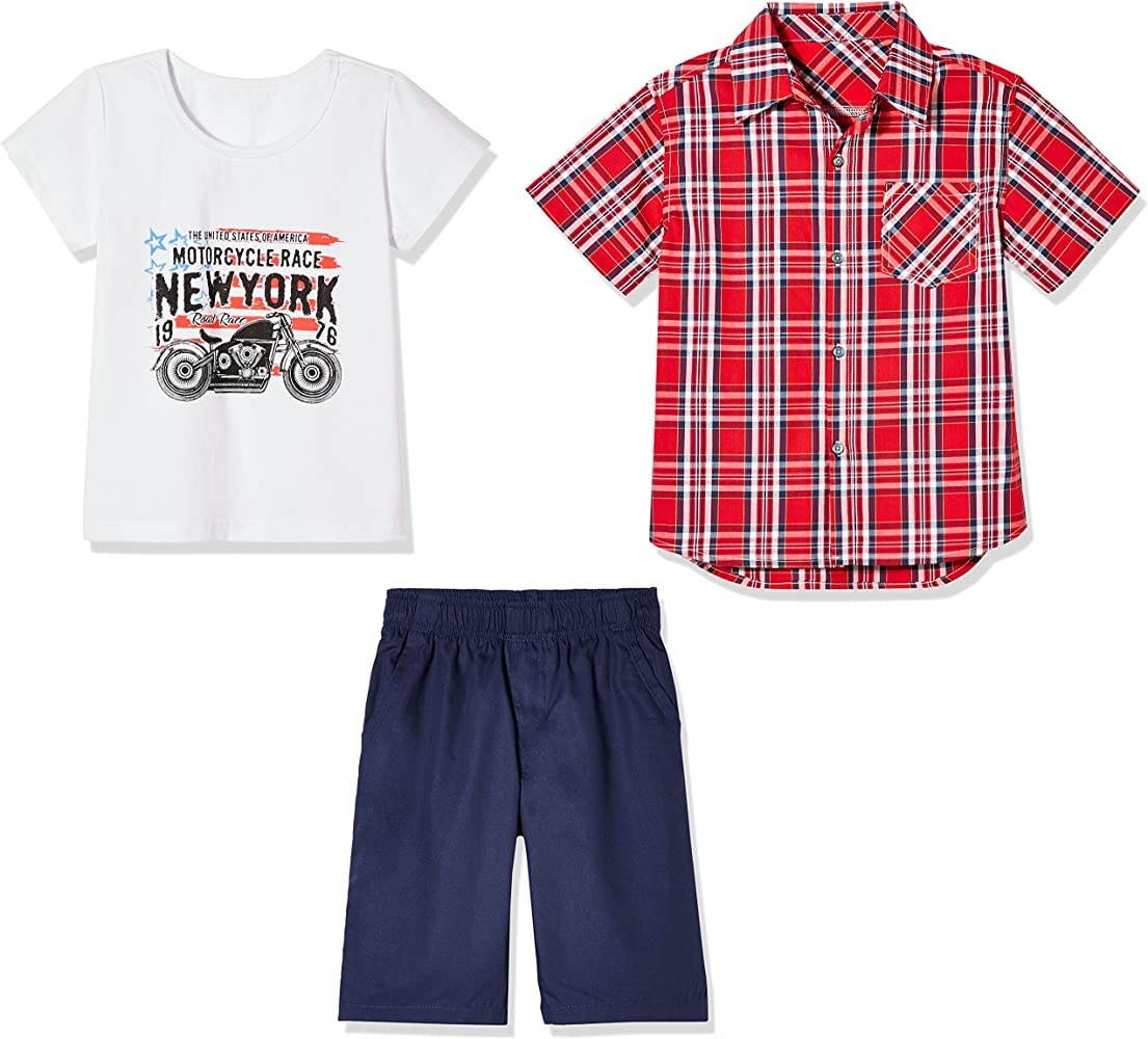 2423f396bce7 Boys 3 Pack 100% Cotton Shorts Set for Toddlers and Little Boy