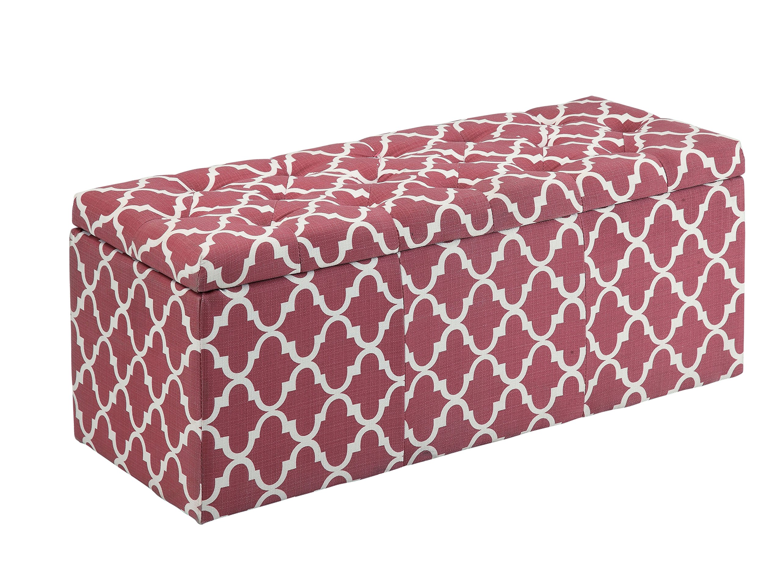 HOMES: Inside + Out IDF-BN6033RD Willa Quatrefoil Storage Ottoman, Red