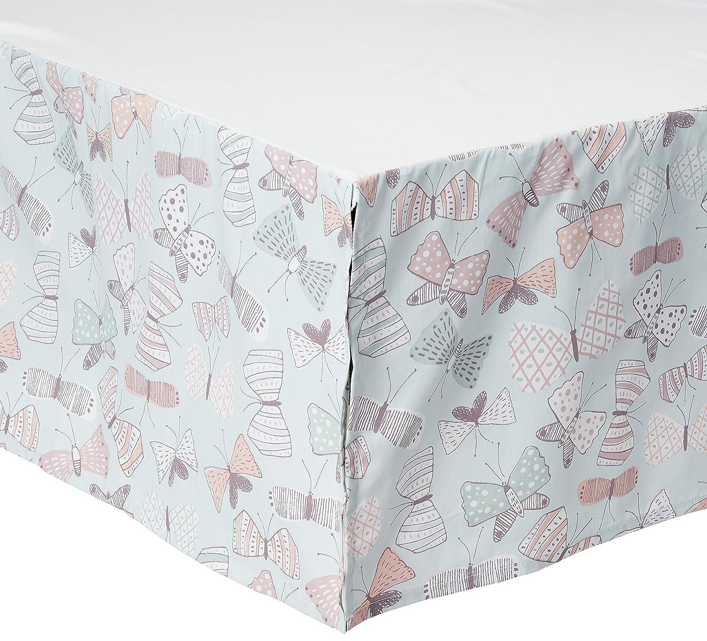DwellStudio Boheme Peacock/Floral Print Crib Skirt, Peach/Gold/Gray Crown Crafts Inc 2775018