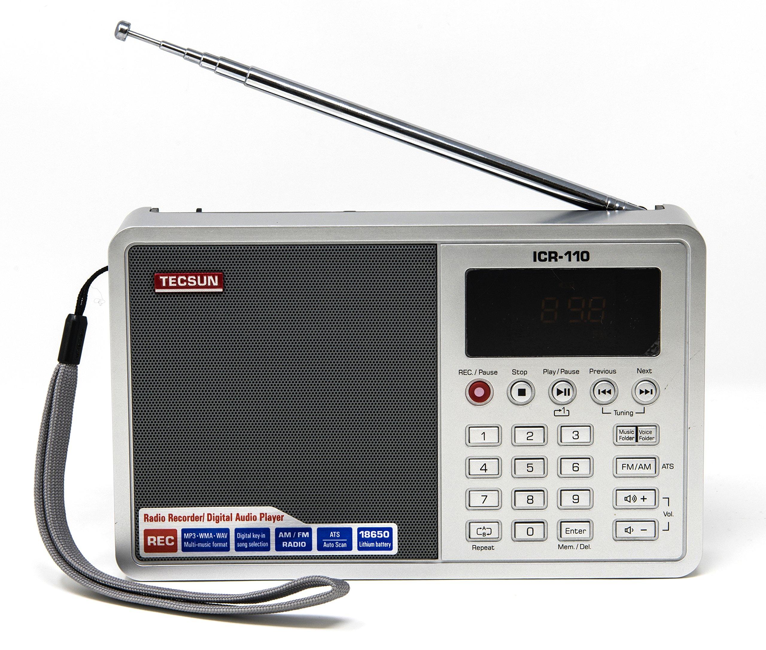 Tecsun ICR-110 4-in-1 Digital Portable AM/FM Radio + MP3 Player + Desktop / Laptop Computer USB Speaker + Digital Recorder, Color Silver (English Version)