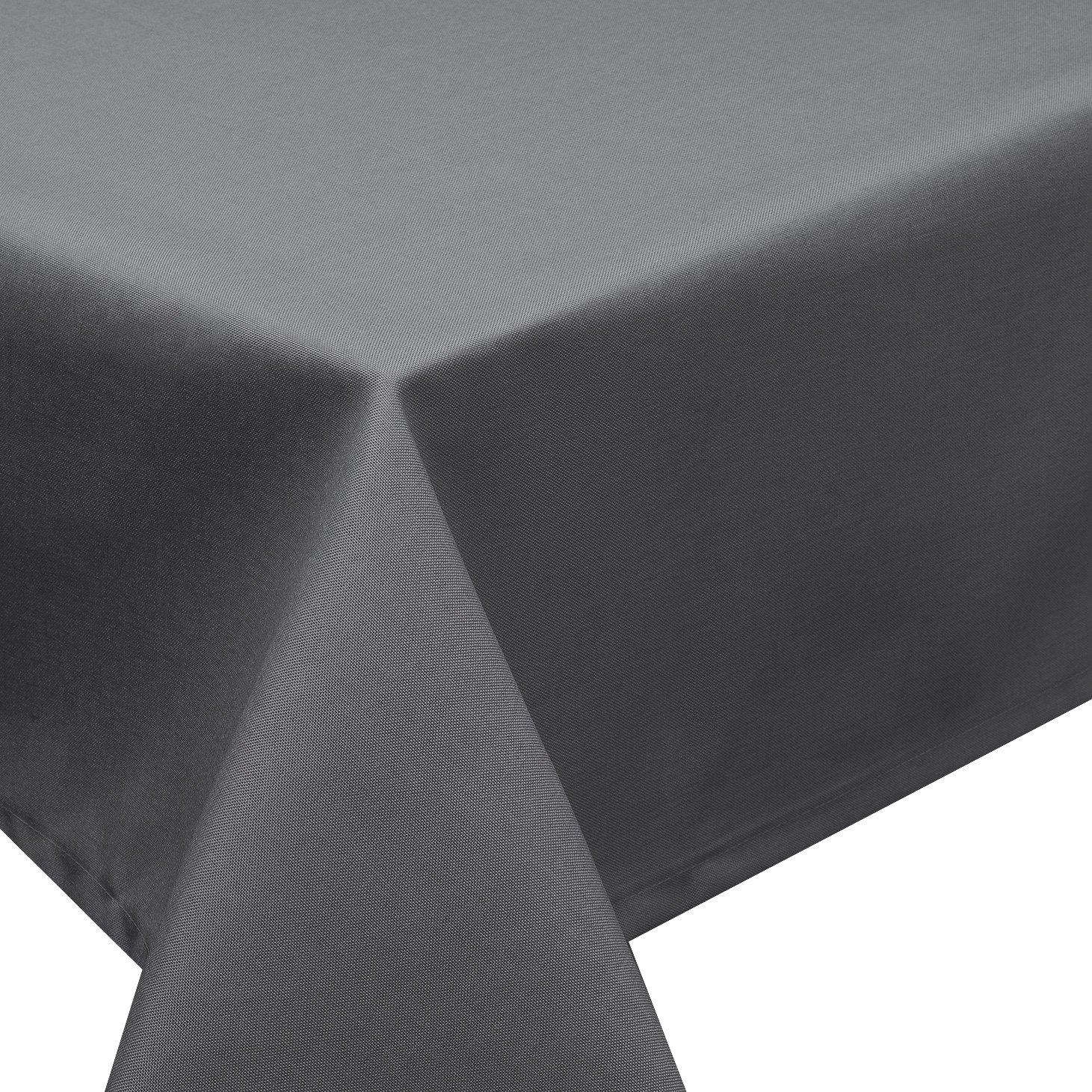 Tischdecke Fleckschutz Lotus Effekt Garten Leinenoptik abwaschbar in 27 Größen und 15 Farben in eckig, oval und rund Farbe  anthrazit eckig 160x320 cm B06WP71Y6V Tischdecken
