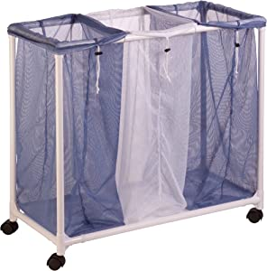 Honey-Can-Do HMP-01629 3 bag mesh laundry sorter, 28.25 L x 13.5 W x 30 H Inches, Blue/White