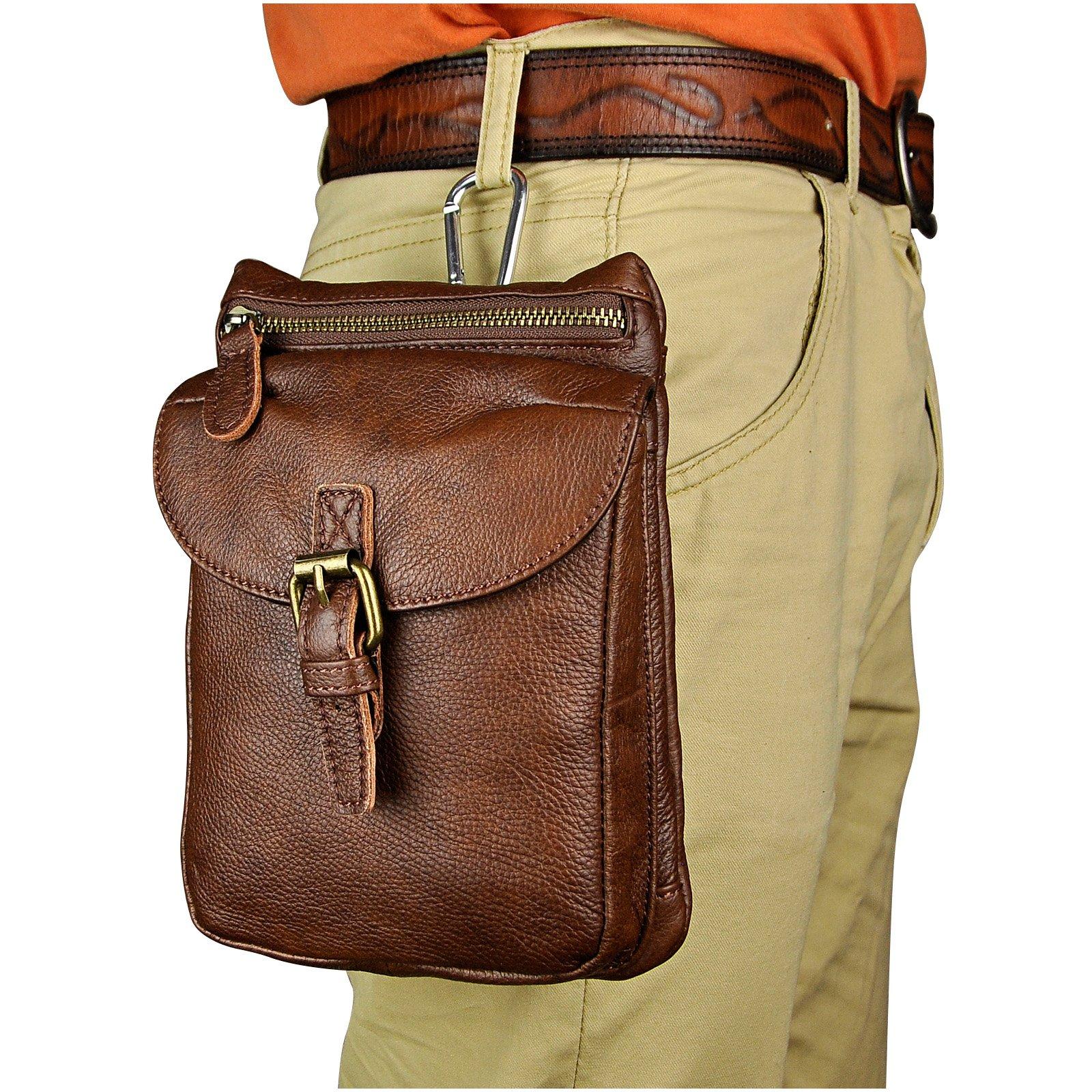 Le'aokuu Mens Genuine Leather Coffee Fanny Small Messenger Shoulder Satchel Waist Bag Pack (The 6552 brown)