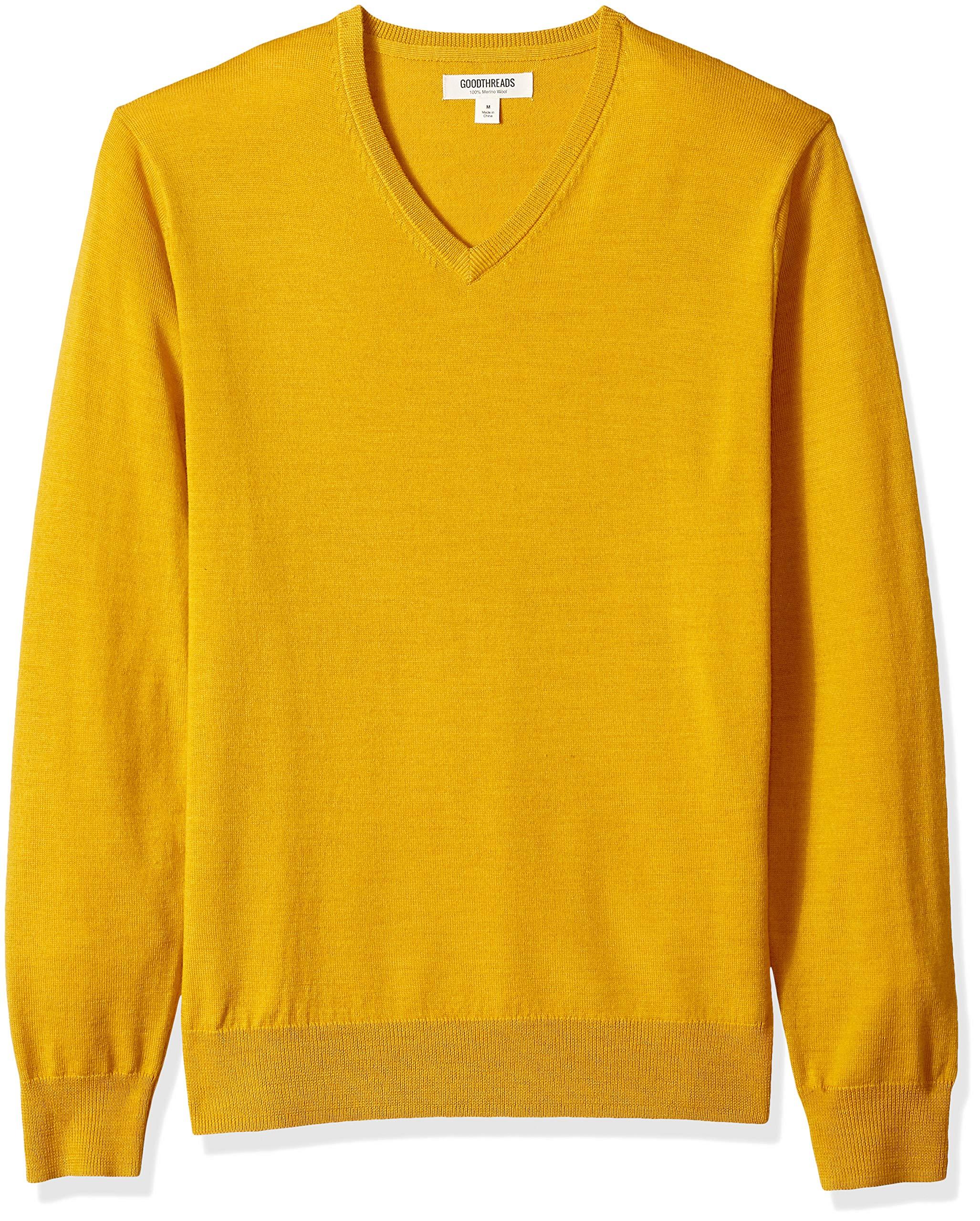 Goodthreads Men's Merino Wool V-Neck Sweater, Yellow, Large by Goodthreads