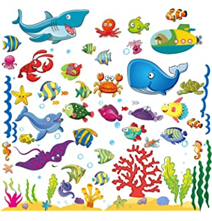 Wall Stickers With Under The Sea Design, Peel And Stick Deep Blue Sea Fish  Vinyl Part 58