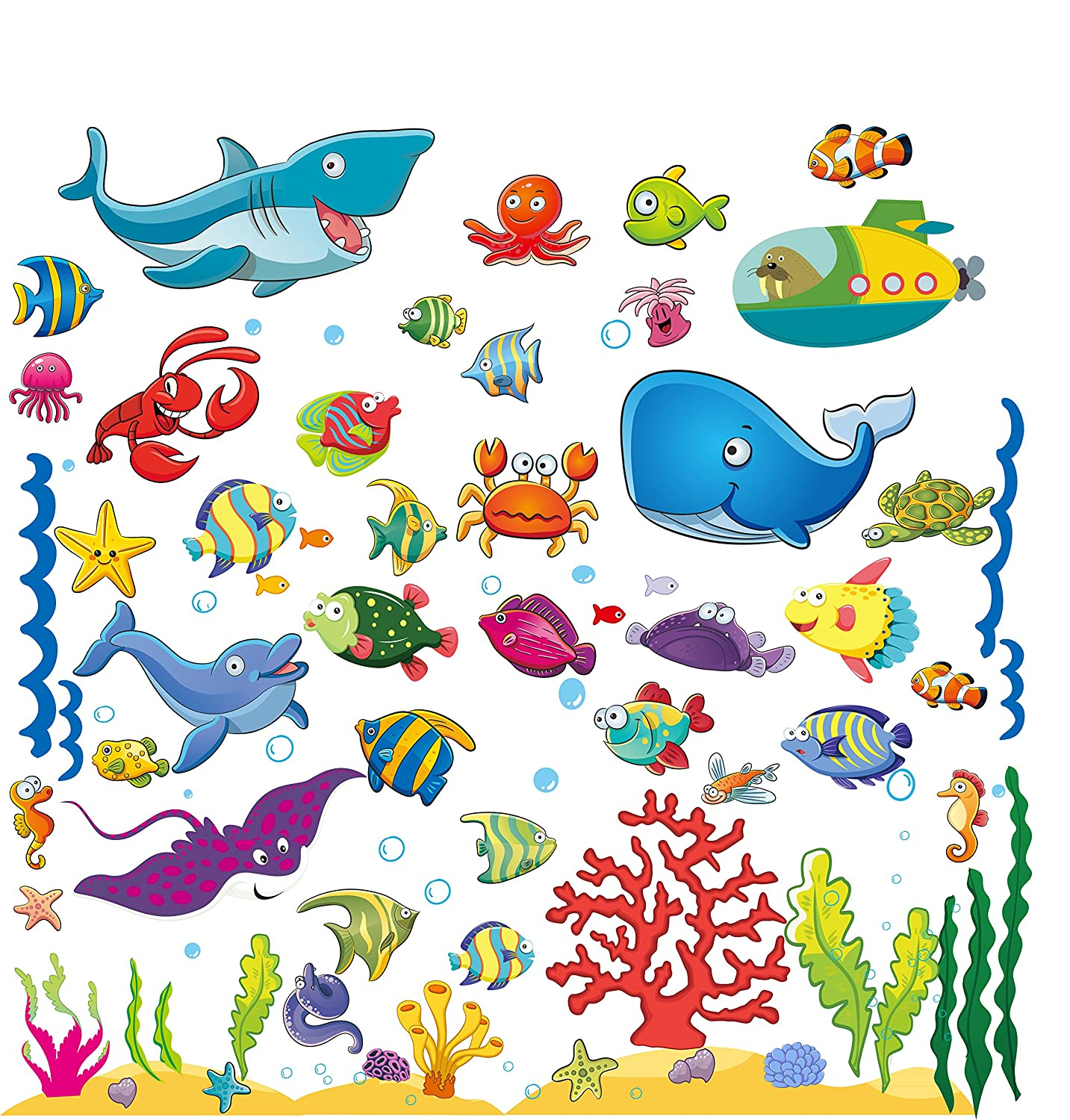 Under the Sea Fish Wall Stickers, Peel and Stick Deep Blue Ocean Vinyl Decals that Clings, Kids' Bathroom, Toddlers' Bedroom and Baby Nursery Removable Wall Art Mural and Decoration (4 Sheets)