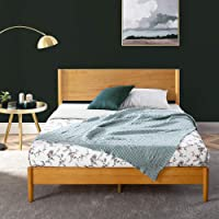 Zinus Double Bed Frame Allen Mid Century Platform Bed | Solid Pine Wood Furniture