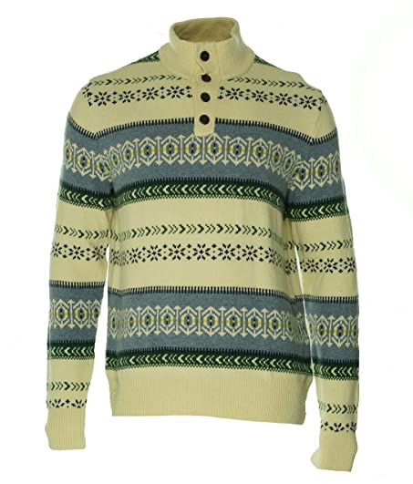 Amazon.com: Tommy Hilfiger Mens Fair Isle Mock Neck Pullover ...