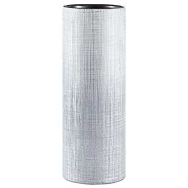 Rivet Rustic Textured Stoneware Tall Decorative Vase, 11 Inch Height, Silver