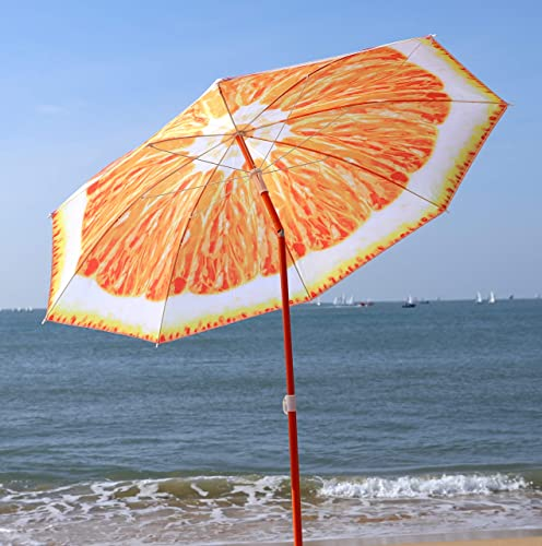 AMMSUN 6ft Portable Beach Umbrella UV Protection Sun Shade Shelter Fruit Design with Tilt Carry Bag Orange for Outdoor Patio,Sport,Pool,Garden, Beach