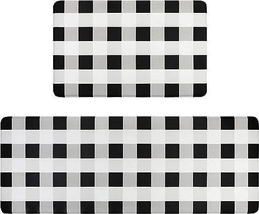 Amazon Com Homcomoda Anti Fatigue Kitchen Rugs Set 2 Piece Buffalo Plaid Checkered Floor Mats Easy To Clean Non Slip Comfort Pvc Leather Heavy Duty Standing Mat Indoor Outdoor 17 3 X 27 5