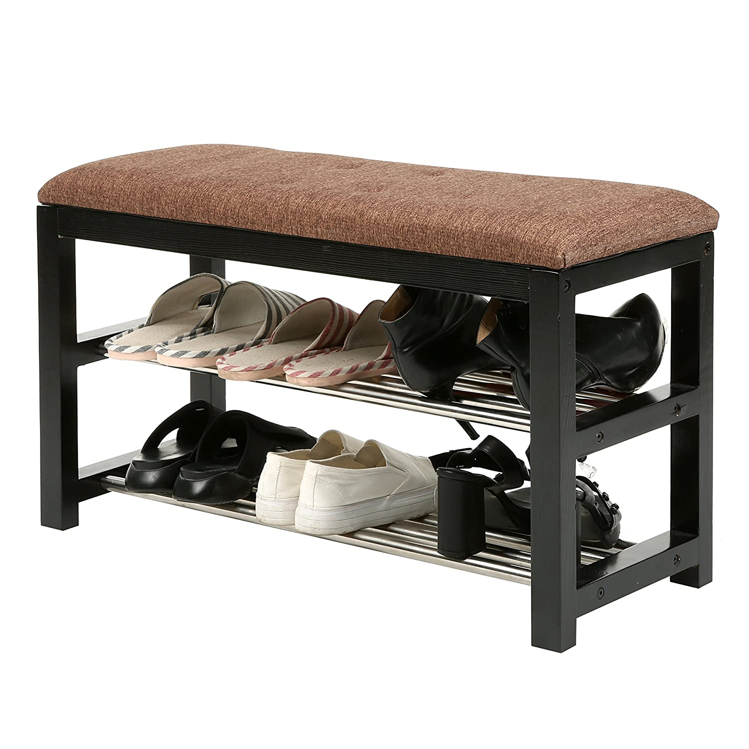 2-Tier Metal Shelf Shoe Rack Bench Storage Organizer with Wooden Frame and Cushion, Entryway Bench MyGift