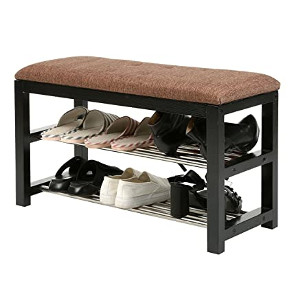bench with shelf. 2-Tier Wooden Shoe Rack Storage Organizer / Entryway Cushioned Bench With Metal Shelves Shelf