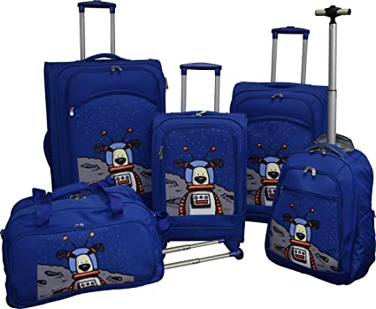 15d569871500 Ed Heck Lightweight 5-PC Spinner Luggage Set (True Blue-Moon Dog)