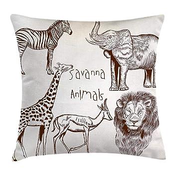 Ambesonne Safari Throw Pillow Cushion Cover, Composition of Tropic Wild Savannah Animals Lion Giraffe Zebra Graphic, Decorative Square Accent Pillow ...