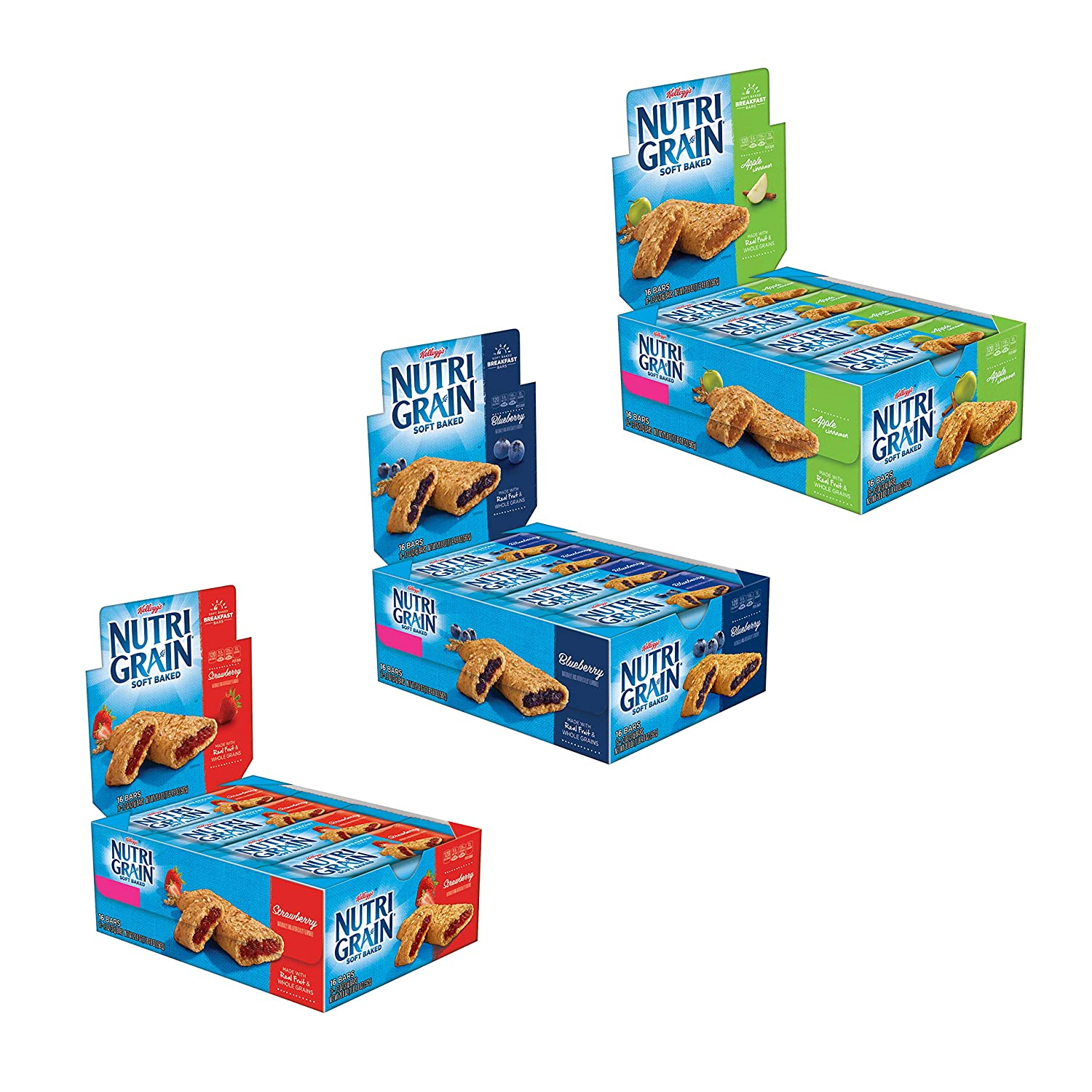 Kellogg's Nutri-Grain Variety Pack Soft Baked Breakfast Bars - Grab-N-Go Snacks, Apple Cinnamon, Blueberry, and Strawberry (48 Count)