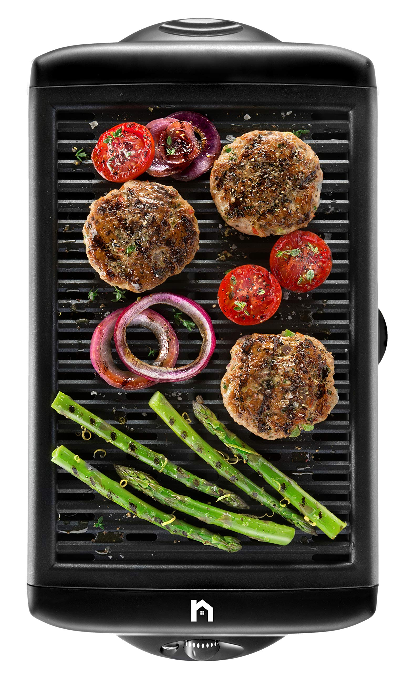 New House Kitchen Electric Smokeless Indoor Grill, Large Non-Stick Cooking Surface, Temperature Control, Dishwasher Safe Removable Drip Tray, Portable Kitchen BBQ-Grill, Black