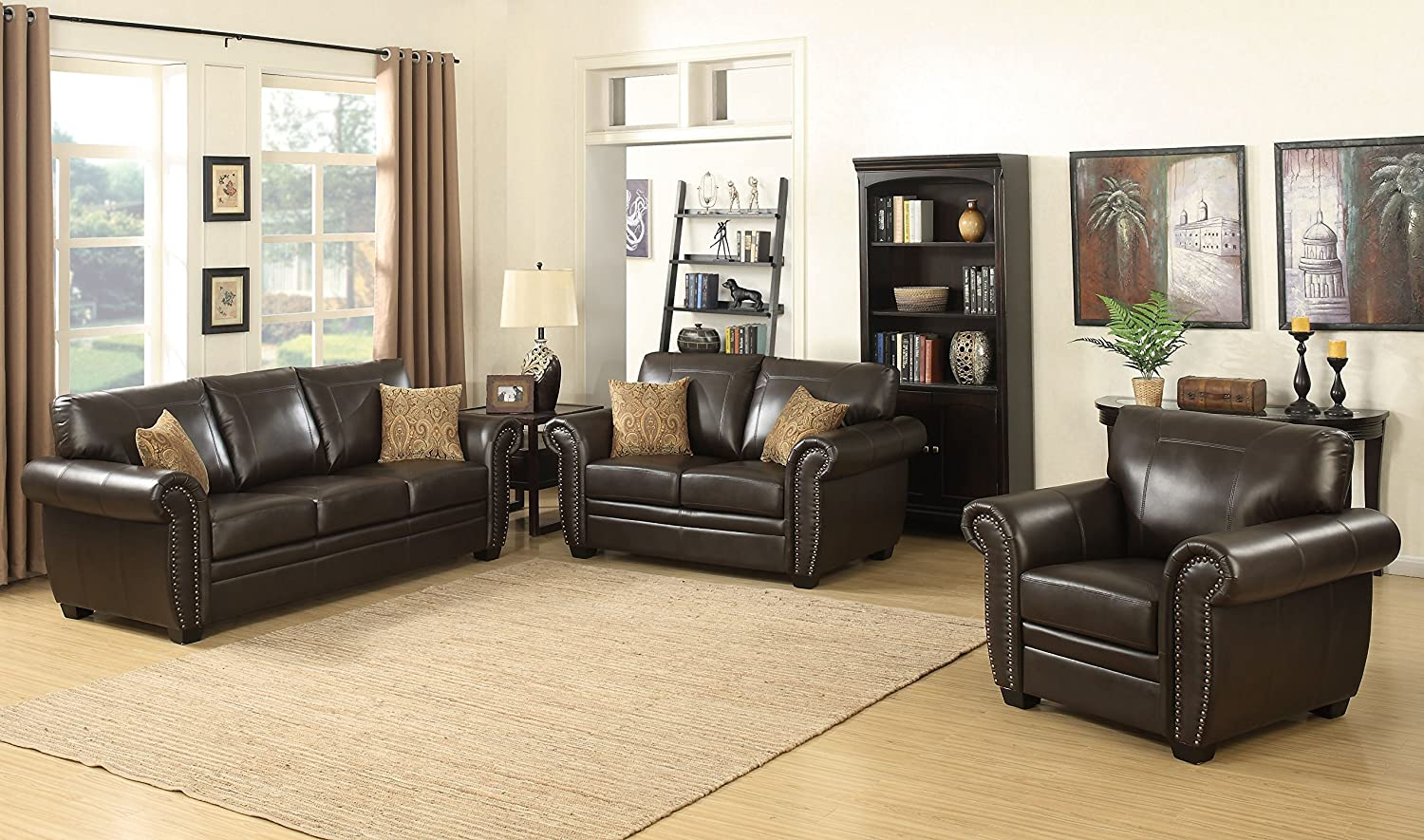 Louis Collection Traditional 3-Piece Upholstered Leather Living Room Sectional with Antique Nail Head Trim and 2 Accent Pillows, Brown