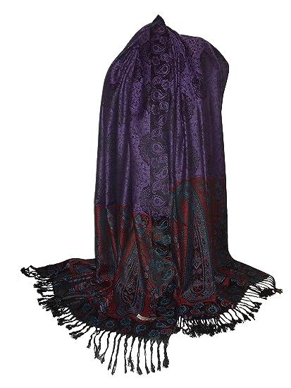 Etole Géante écharpe Pashmina et Soie - Motifs Arabesques Cachemire   Amazon.fr  Vêtements et accessoires 54b6042b36b