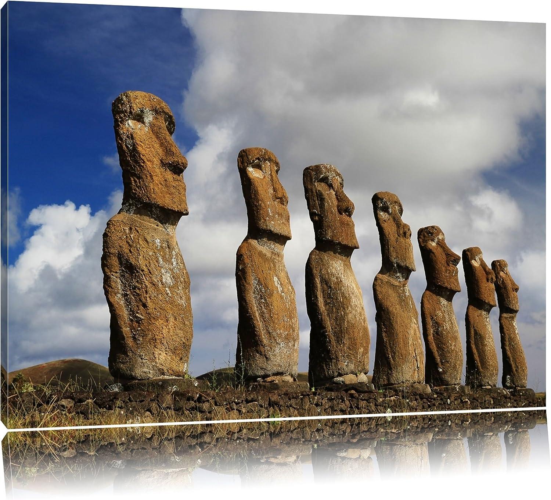 Moais de la Isla de Pascua Formato: lienzo 120x80, XXL enormes imágenes completamente enmarcadas con camilla, la lámina en cuadro de la pared con el marco, más barato que las pinturas al