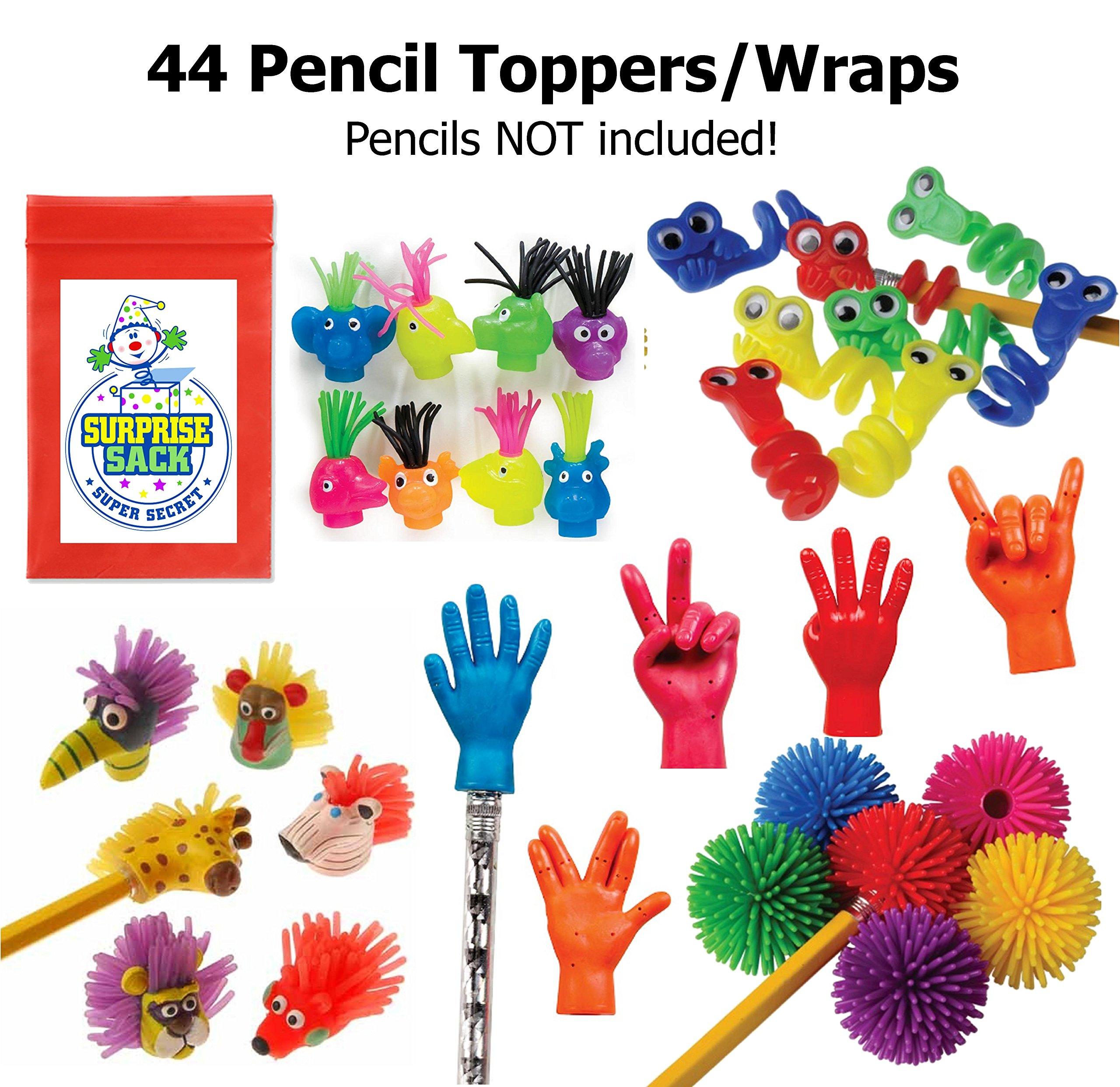 Super Secret Surprise Sack 44 Fabulous Fun Fidget Pencil Toppers with 1 by Super Secret Surprise Sack