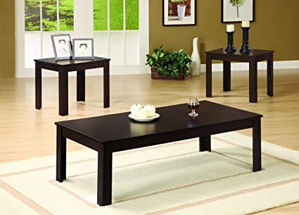 Amazon.com: Coaster Casual Walnut Three Piece Occasional Table Set ...