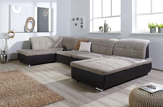 Arbd Wohnlandschaft Farus Couchgarnitur Xxl Sofa U Form Braun