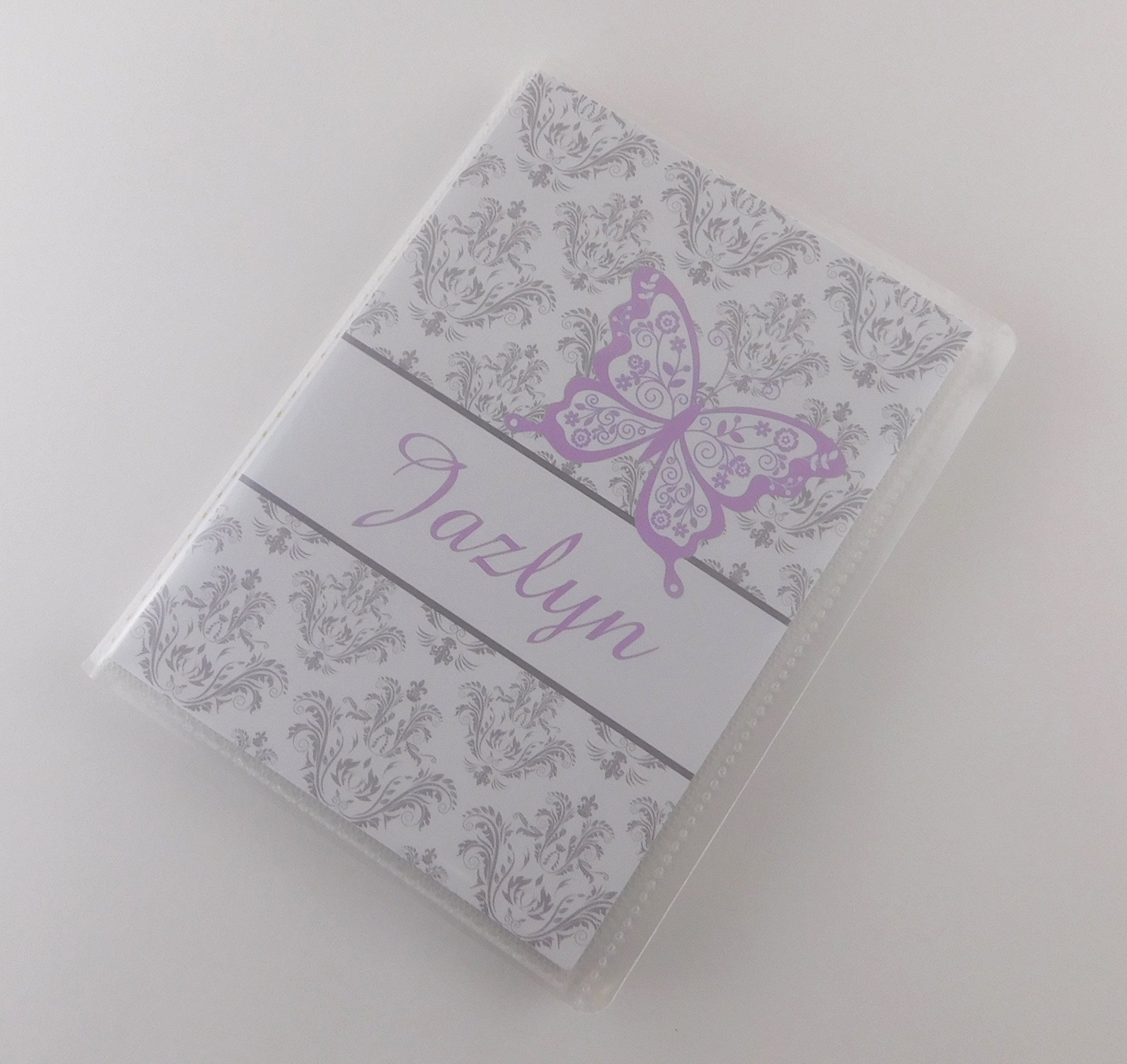 Photo Album IA#743 PRINTED Baby Girl Grandmas Brag Book Vinyl 4x6 or 5x7 Pictures Personalized Gray Damask Purple Butterfly