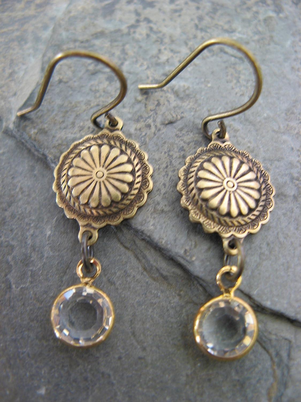 00fcd69bb0f8f Swarovski Crystal Antique Brass Earrings Boho Artisan Jewelry