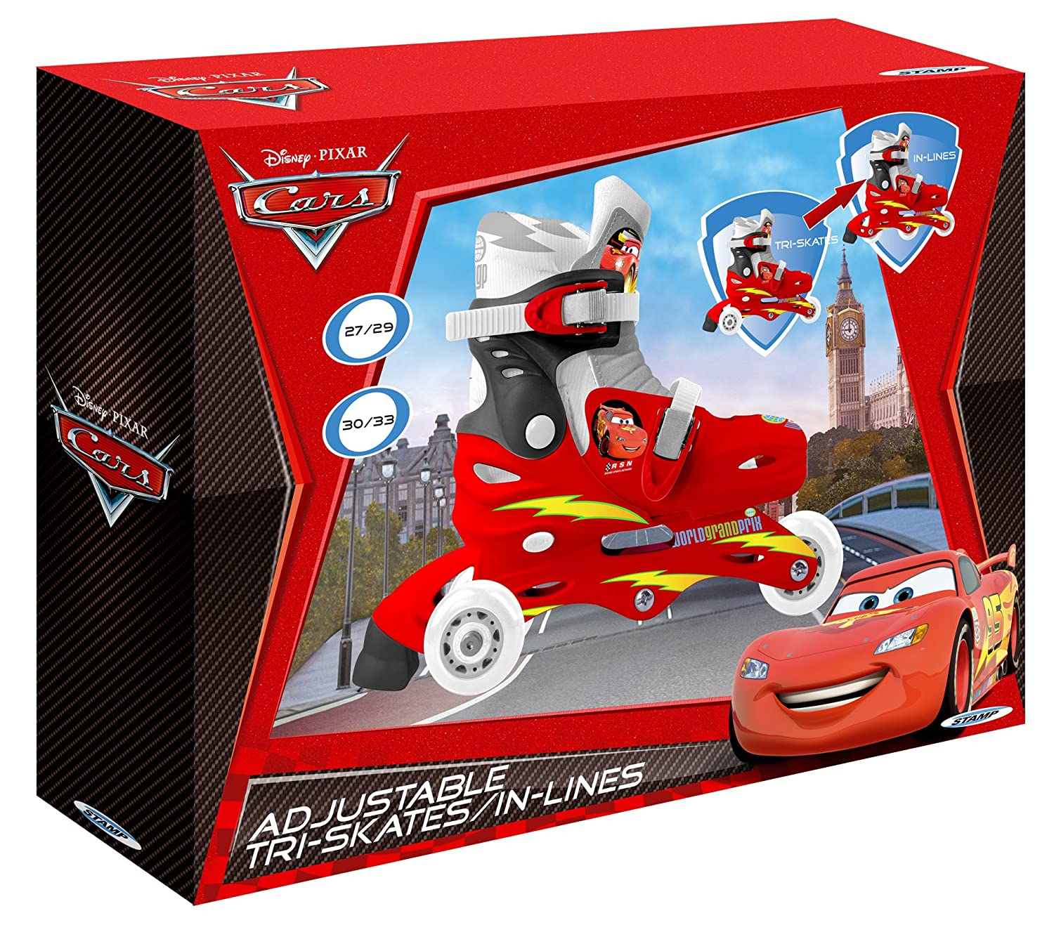 Amazon.com: stamp Disney 2-in-1 Cars 2 Adjust 3-Wheel Skate: Toys & Games