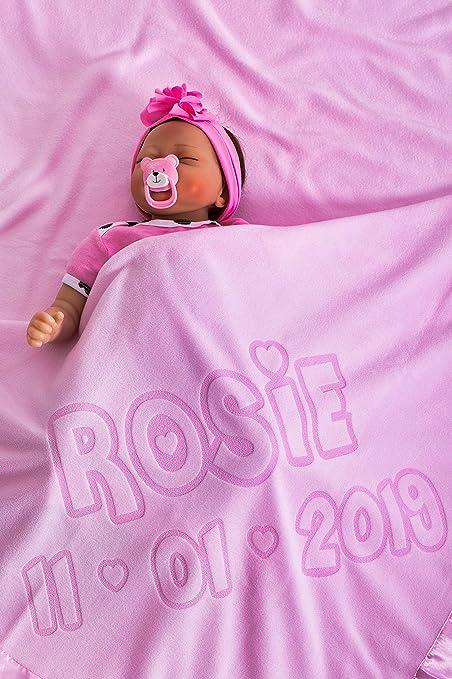 Cadeau Naissance Date De Naissance Taille 88x88cm Gar/çon Ou Parent Rose Couverture De Bebe Personnalisee Pour Lit De Bebe Ou Poussette Avec Nom De Bebe