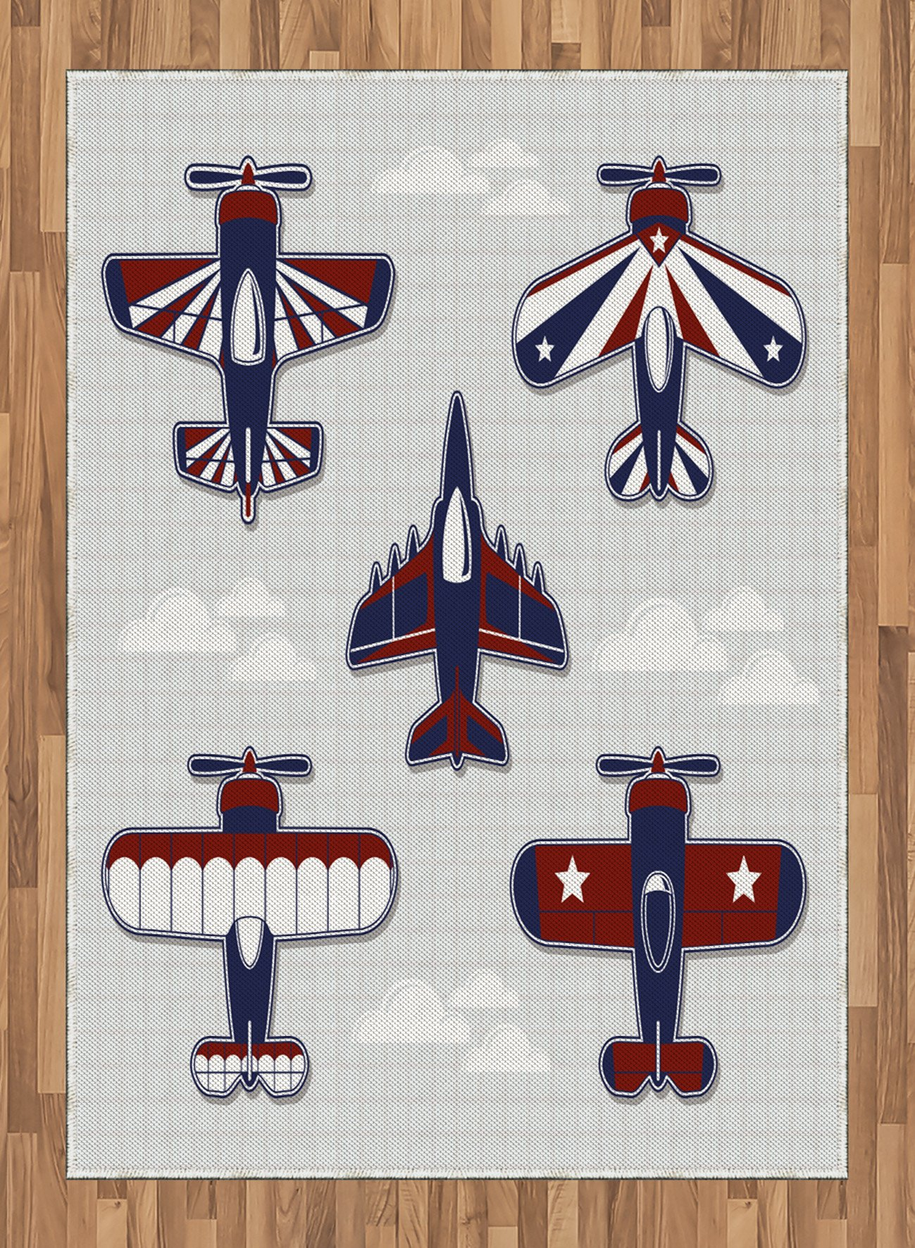Boy's Room Area Rug by Lunarable, America Inspired Toy Planes with Stripes and Stars War Plane Show Plane, Flat Woven Accent Rug for Living Room Bedroom Dining Room, 5.2 x 7.5 FT, Red White Blue by Lunarable