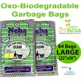 NEHA Biodegradable Garbage Bags - Large Size(22 inch x 26 inch) Black (64 Bags)