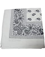 Bandanas by the Dozen (12 units per pack, 100% cotton) [White Paisley]